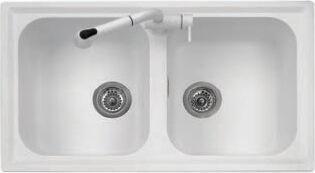 plados Pl0862ug58 Lavello Cucina Fragranite 2 Vasche Incasso Larghezza 86 Cm Materiale Ultragranit Colore Bianco Latte Ug58 - Pl0862 Serie Atlantic