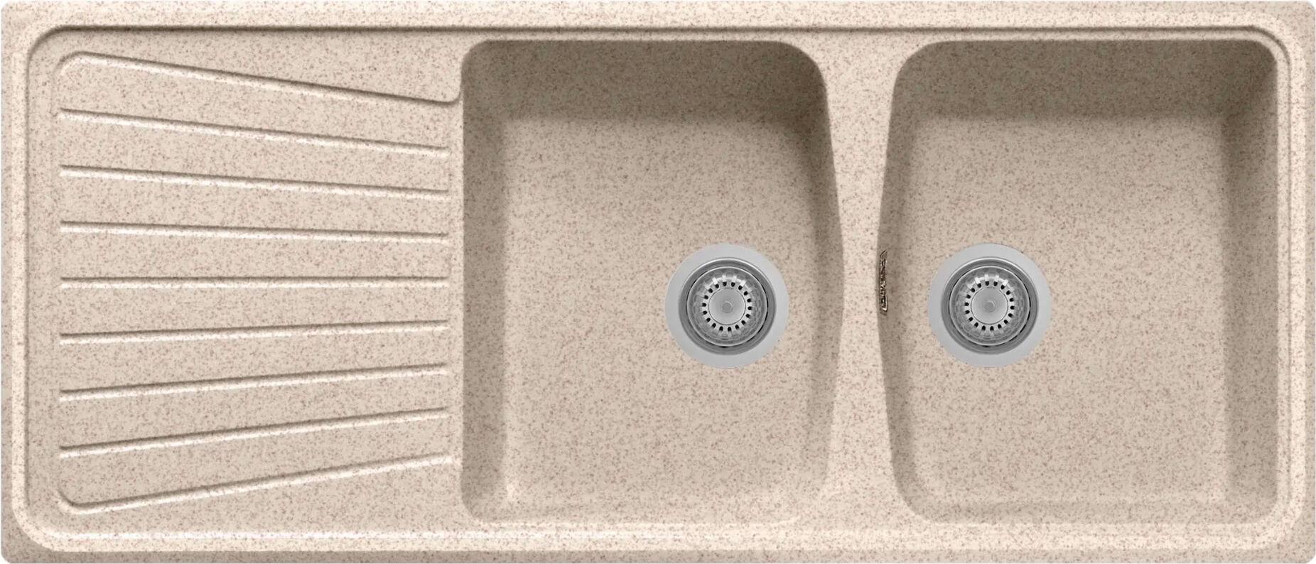 plados Sp1162ug94 Lavello Fragranite Cucina Incasso 2 Vasche Con Gocciolatoio Larghezza 116 Cm Materiale Ultragranit Colore Avena Ug94 - Sp1162 Serie Spazio