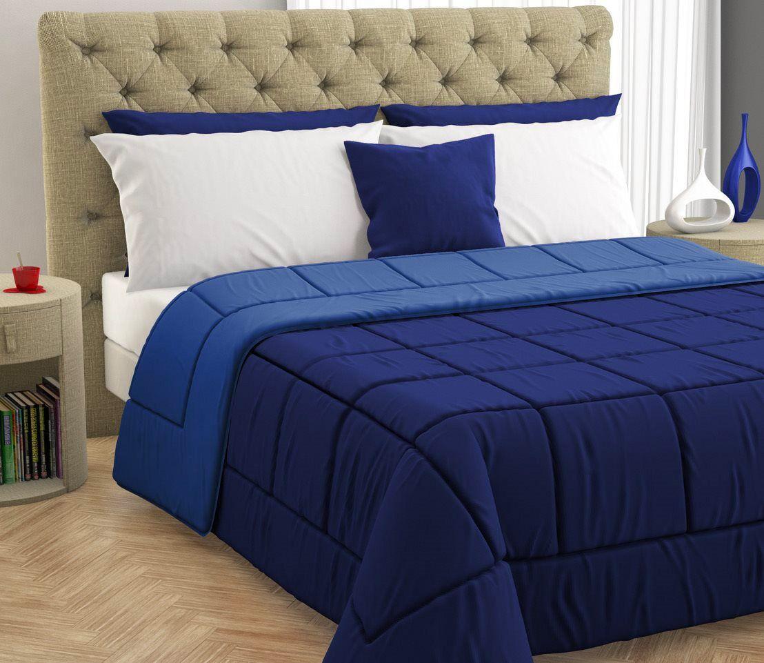 Blanco 170207 Trapunta Invernale Matrimoniale 260x260 Cm In Microfibra E Fibra Anallergica Double Face Tinta Unita Colore Blu / Blu Navy - 170207
