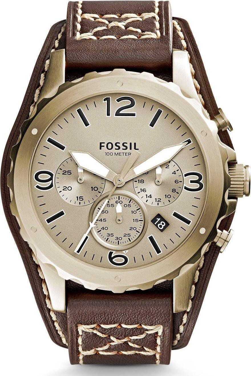 fossil Jr1495 Orologio Uomo Quadrante Analogico Con Meccanismo Di Movimento Cronografo Al Quarzo Cassa In Acciaio E Cinturino In Pelle - Jr1495