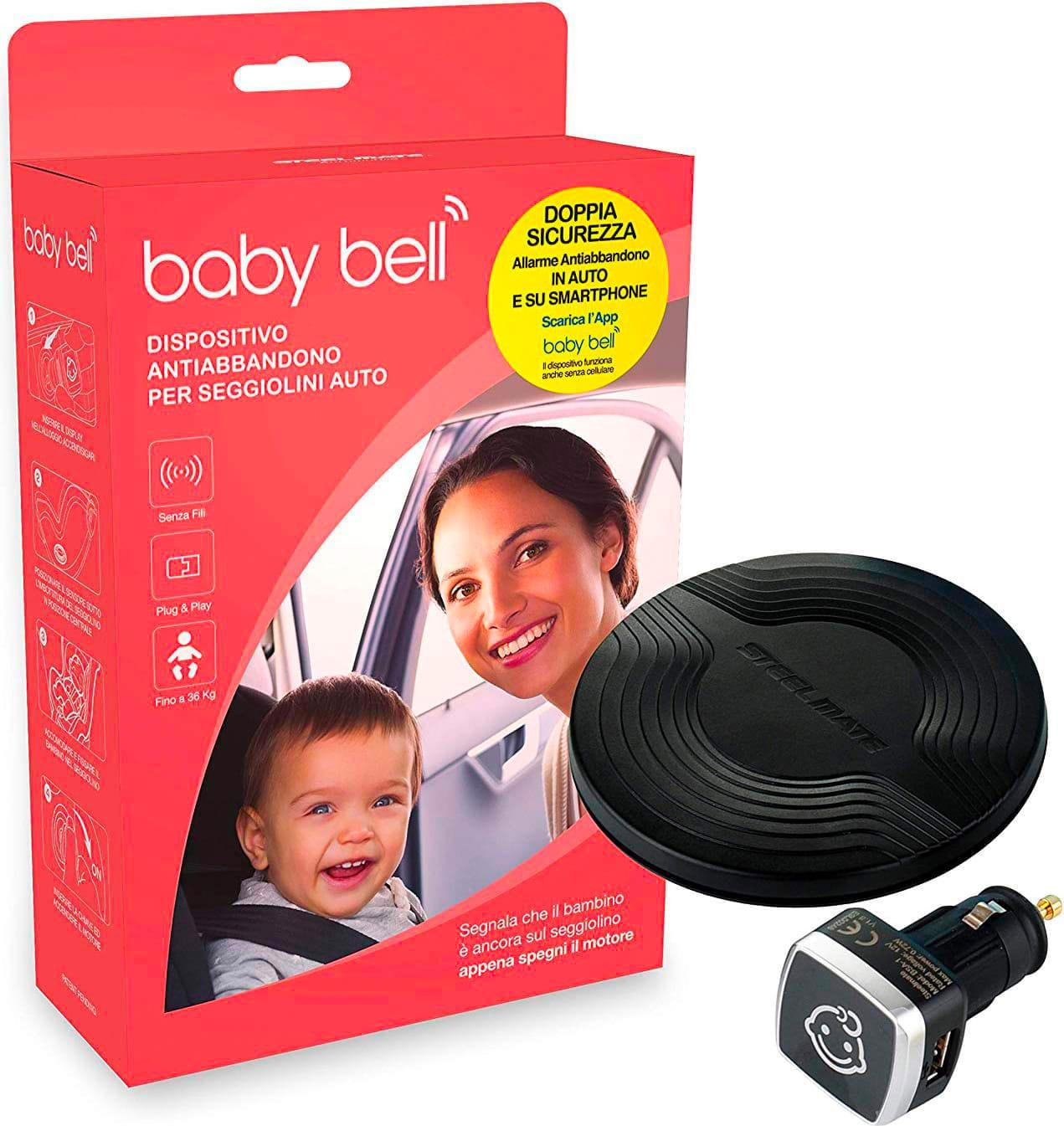 steelmate Bsa-1 Outlet - Dispositivo Anti Abbandono Per Seggiolino Auto Allarme Sonoro E Visivo Compatibile Android/ios - Bsa-1 Baby Bell