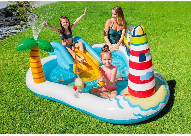 intex 57162 Piscina Fuori Terra Gonfiabile Piscina Esterna Per Bambini Da Giardino Con Scivolo 218x188x99 Cm - 57162 Play Center Fishing Fun