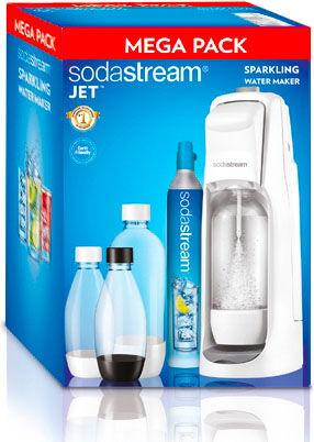 sodastream Jetmegapac Gasatore Acqua Kit: 1 Fasatore + 2 Bottiglie Pet 1 Lt + 2 Bottiglie Pet 0.5 Lt 1 Cilindro Co2 Colore Bianco - Jet Megapack