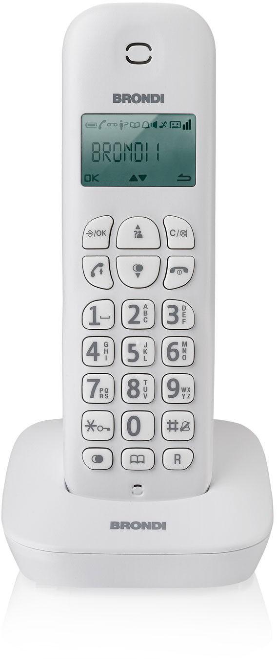 Brondi Gala Telefono Cordless Eco Dect Senza Fili Funzione Sveglia Colore Bianco - Gala