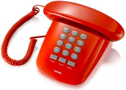 Brondi 10273083 Telefono Fisso A Filo Sirio Rosso
