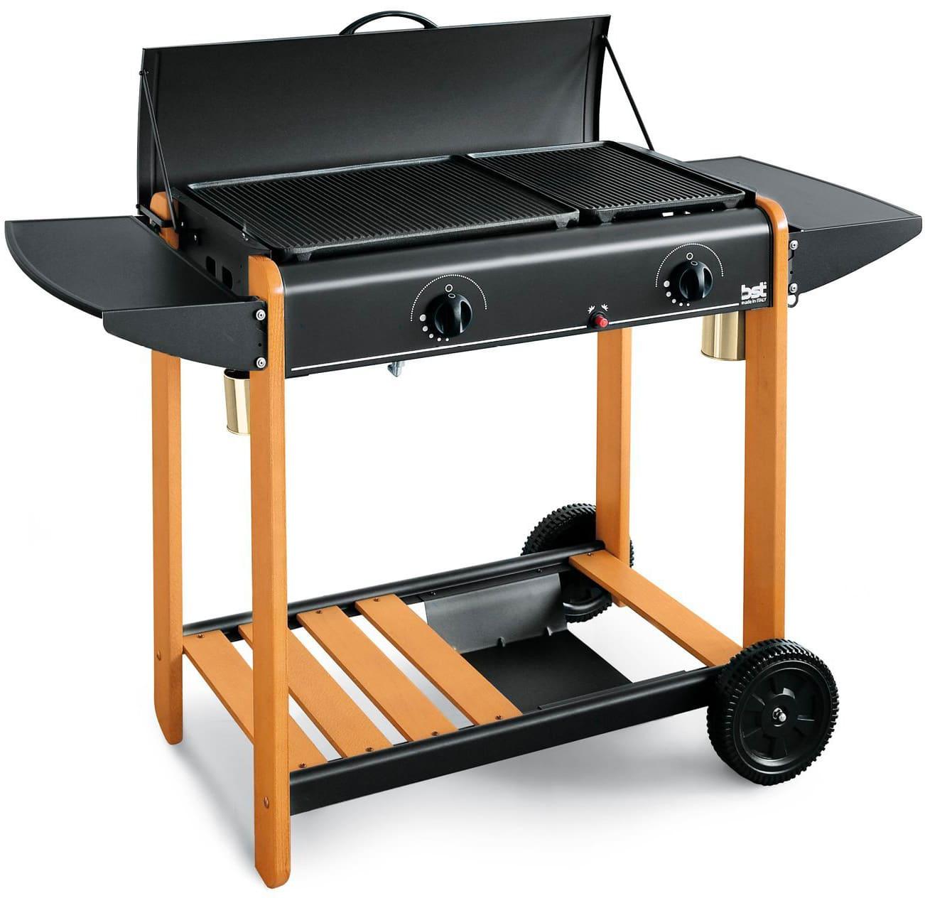 bst 340 Barbecue Gas Metano / Gpl Bbq Da Giardino In Acciaio Potenza 6.2 Kw 76x43x83h Cm Con Coperchio E Ruote - 340 Miami