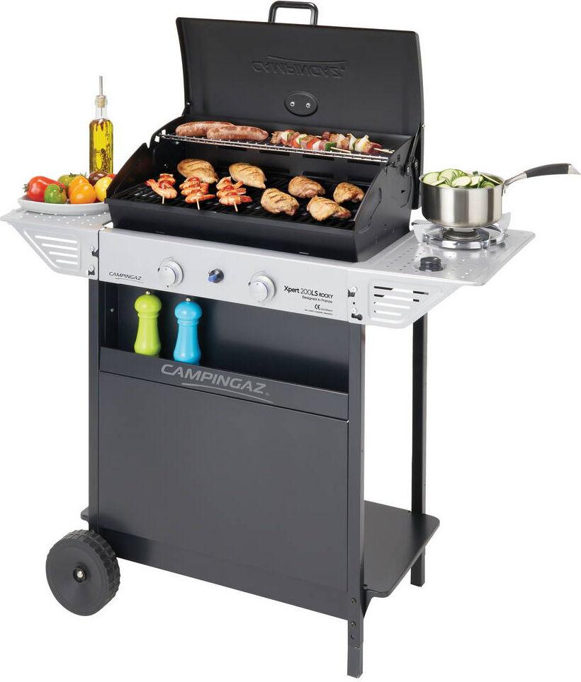 campingaz 3000004834 Barbecue A Gas Pietra Lavica E Griglia In Acciaio Da Esterno Bbq Da Giardino Con Coperchio Ruote E Fornello Laterale - 3000004834 Xpert 200 Ls Plus Rocky