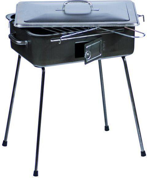 filcasalinghi 736 Barbecue A Carbonella Carbone Portatile Da Esterno Bbq Da Giardino In Acciaio 27x37 Cm Con Coperchio Sportello E Gambe Pieghevoli - 736 Pic-Nic