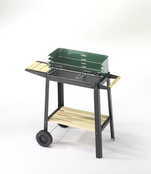 ompagrill 50311 Barbecue A Carbonella Carbone Da Esterno Bbq Da Giardino In Acciaio Con Ruote 50x25 Cm / 77h Cm - 50311