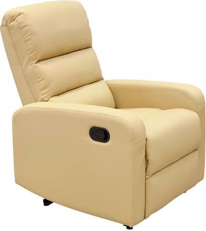 amicasa hs-672c_b poltrona relax con movimento manuale in ecopelle pu colore beige - hs-672c lara