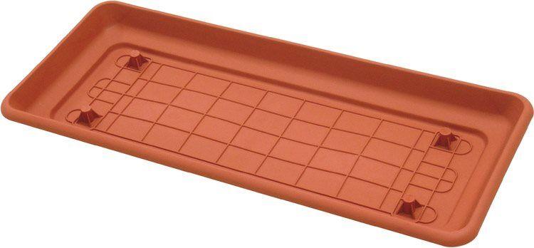 ics R60062 Sottovaso Rettangolare In Plastica Con Predisposizione Ruote Cm. 60x30x6 H - Daphne - R60062