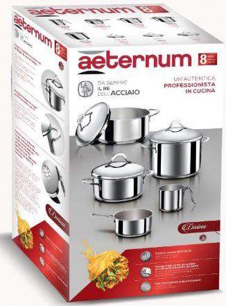aeternum Y0dvset008 Set Pentole Batteria 8 Pezzi In Acciaio Inox - Divina - Y0dvset008