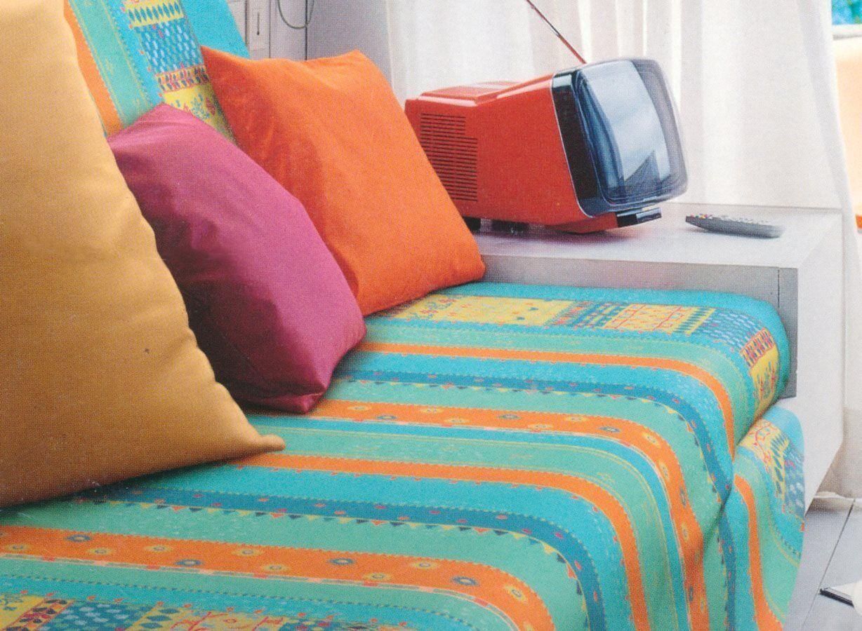 bassetti Mayu - 180x270 / Azzurro Telo Copridivano 1 Posto Granfoulard Telo Arredo Copritutto 100% Cotone 180x270 Cm Fantasia Colore Azzurro - Mayo