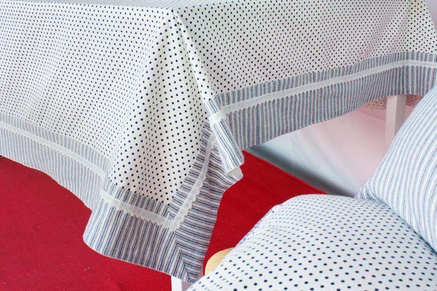 Blanco Camille - 140x180 / Grigio Tovaglia 100% Cotone 6 Posti Per Tavolo Rettangolare 140x180 Cm Con Bordo Applicato E Passamaneria Colore Grigio - Camille