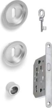 vi.tel. E0420 51 Serratura Per Porta Scorrevole Kit Con Nicchia / Serratura E Chiave Colore Cromo Satinato - E0420 51