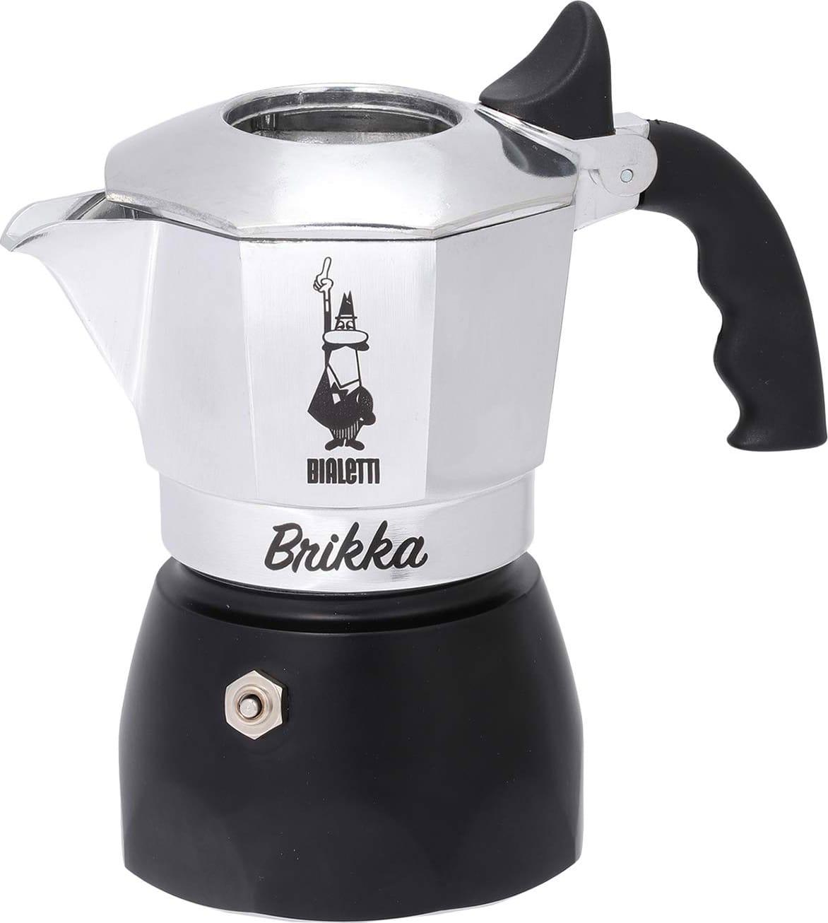 Bialetti 0006782 Macchinetta Caffè In Polvere Moka 2 Tazze Colore Acciaio E Nero - 0006782 Brikka