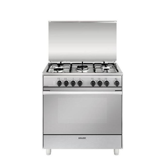 GLEM GAS U855MI6 Cucina Libera installazione Piano Cottura a Gas 5 Fuochi Forno Elettrico 80x50cm A Acciaio Inossidabile
