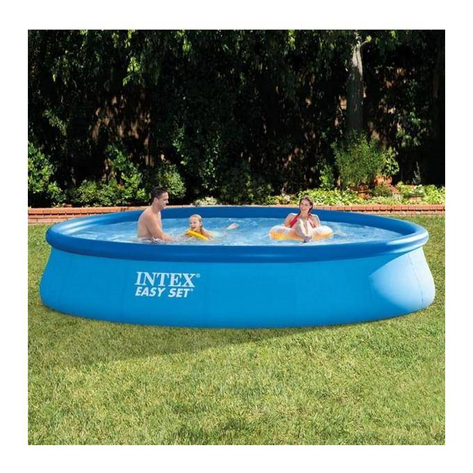 INTEX 28180 Piscina Easy Set con Pompa Filtro, 457x84 cm, Scaletta, Blu
