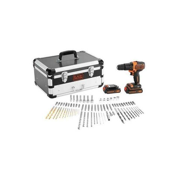 BLACK AND DECKER Trapano con Percussione Doppia Batteria Litio 18v in Valigetta Premium 80 Accessori