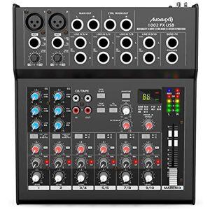 Audibax 1002 FX-USB  Mixer con 10 canali, interfaccia audio USB, tavolo DJ analogico, processore di effetti integrato, equalizzatore a 3 bande e bilanciamento, 4 ingressi microfono