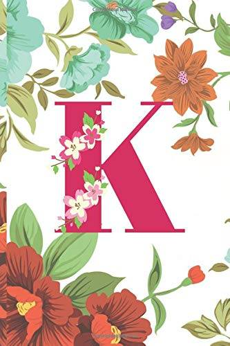 lili and lulu publishing monogram letter k:  personalized blank-lined notebook with initial: floral design pink and white journal (6x9) to-do list, diary or gift for valentine's day, easter or birthday isbn:9781655032110