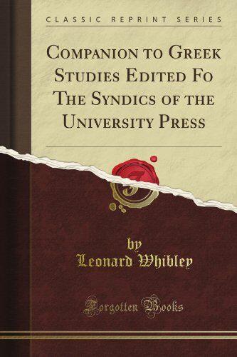 Leonard Whibley Companion to Greek Studies