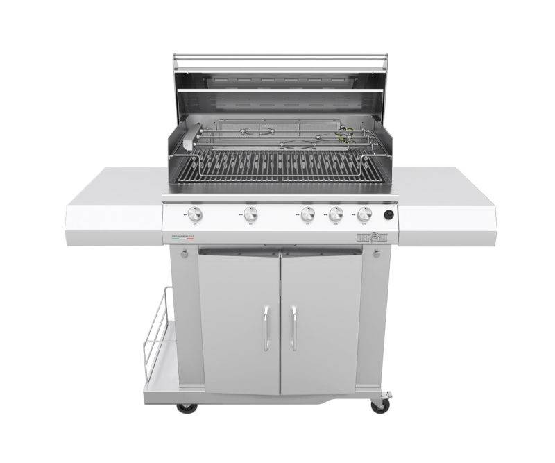 barbecue professionali barbecue a gas sun grill basic 5 fuochi range griglia scolo a v con girarrosto