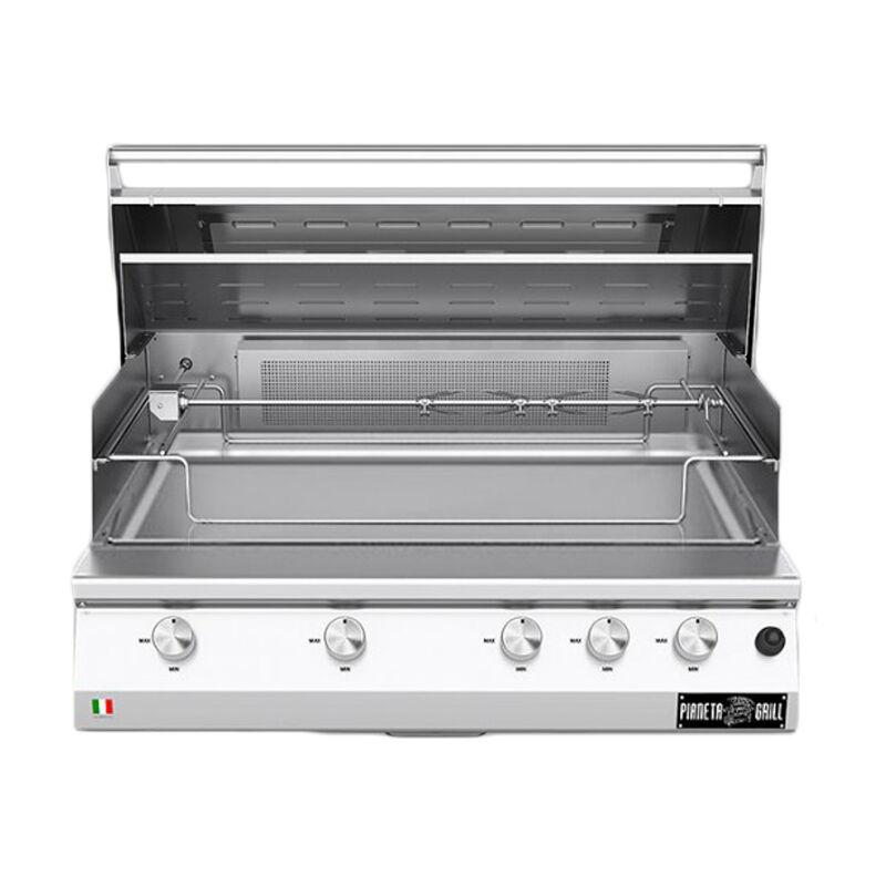 barbecue professionali barbecue a gas fry top 750 range da appoggio 5 bruciatori con piastra teppanyaki