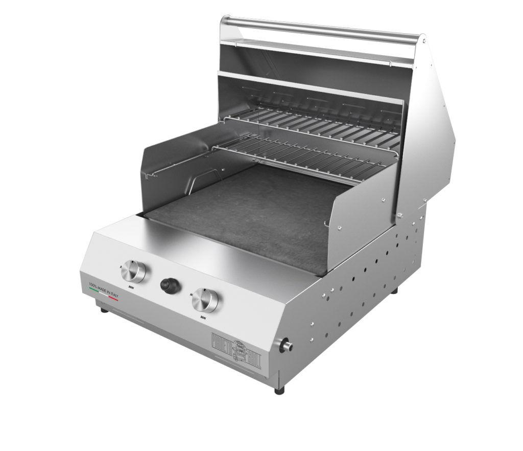 Barbecue professionali Barbecue a gas Fry Top 500 da appoggio 2 bruciatori con pietra ollare