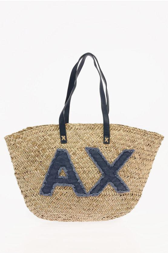 armani exchange borsa shopping in paglia intrecciata con log taglia un