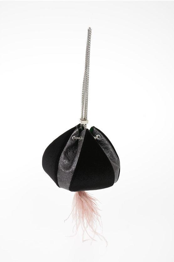 the volon evening bag in pelle e velluto con dettagli in piume di stru taglia un