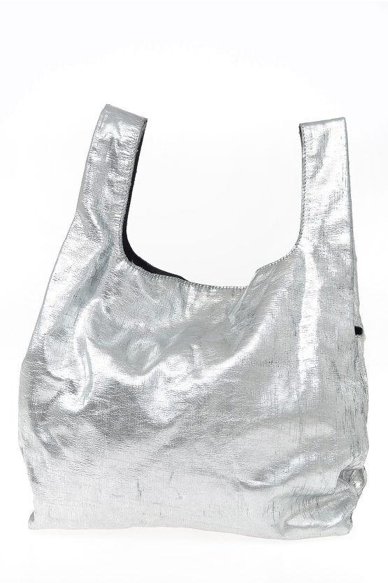maison margiela mm11 shopper bag in pelle lamè taglia unica