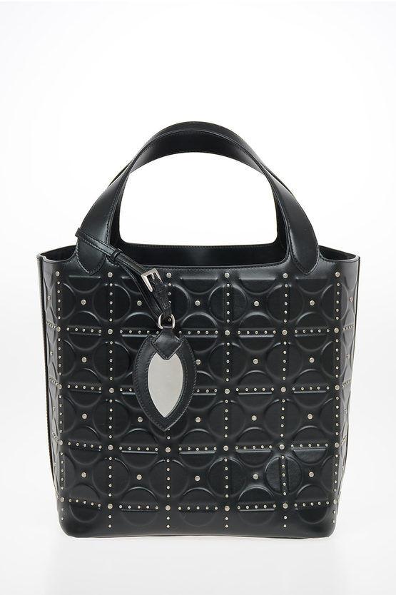 alaia shopper bag in pelle con applicazioni taglia unica