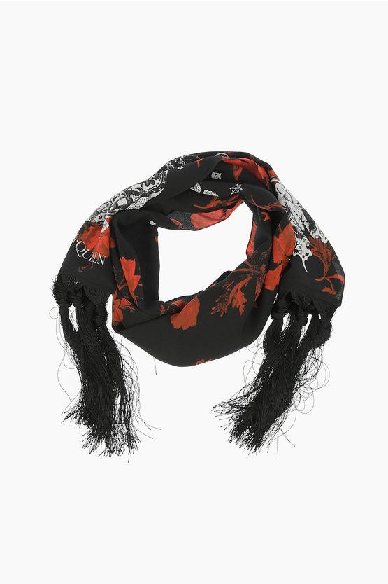 alexander mcqueen sciarpa in seta a fantasia taglia unica