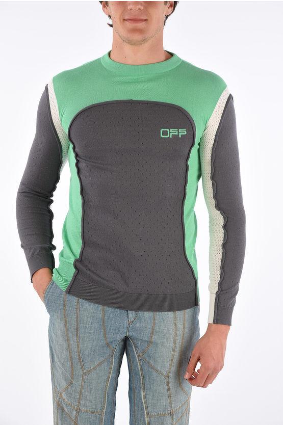 off-white maglia girocollo sport mix in cotone taglia m