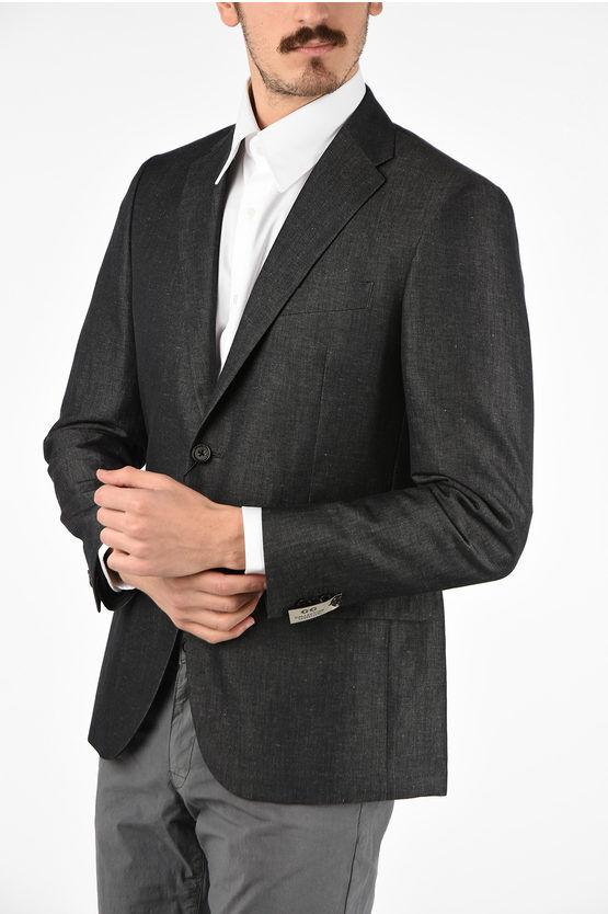 Corneliani CC COLLECTION giacca a 2 bottoni REWARD in lino e cotone dro taglia 56