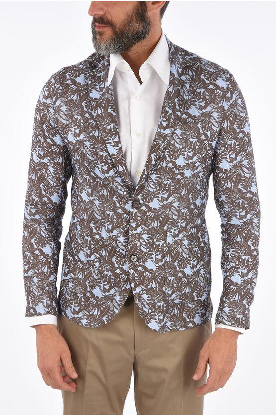 Corneliani CC COLLECTION giacca a 2 bottoni stampa floreale in lino dro taglia 50