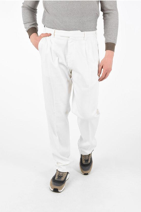 Zegna EZ LUXURY Pantaloni a Doppia Pince Cotone Stretch taglia 46