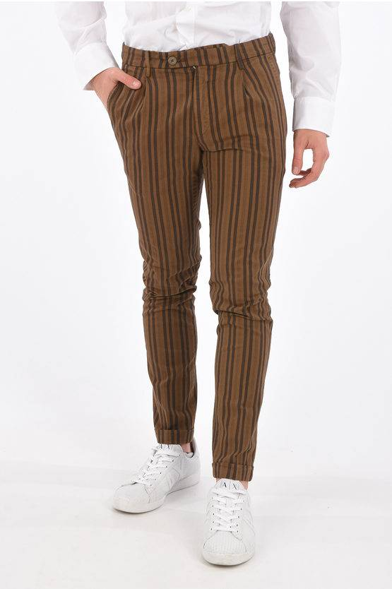 Michael Coal pantalone chinos ad orlo con risvolto awning striped a vita taglia 33