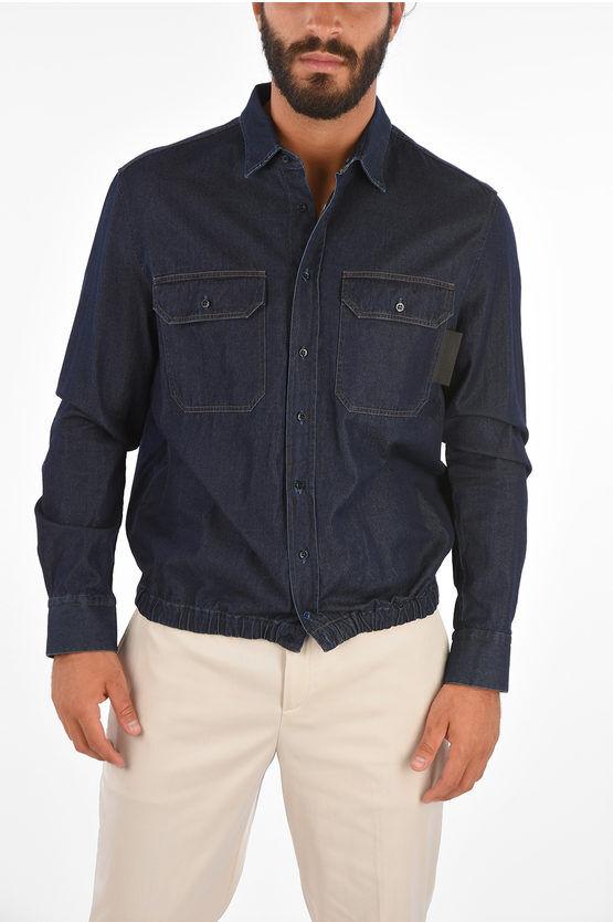 Neil Barrett TRAVEL Camicia Loose Blouson Fit in Denim taglia M