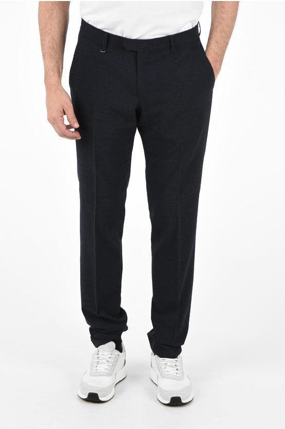 Zegna ZZEGNA Pantaloni Narrow Fit a Micro Quadri taglia 56