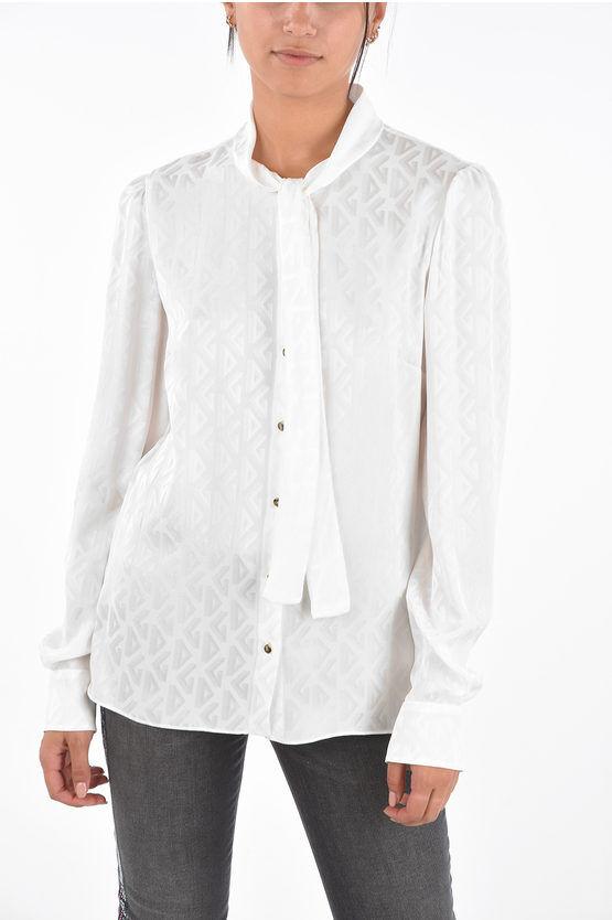 dolce&gabbana camicia tie-neck in seta con bottoni a pressione taglia 42
