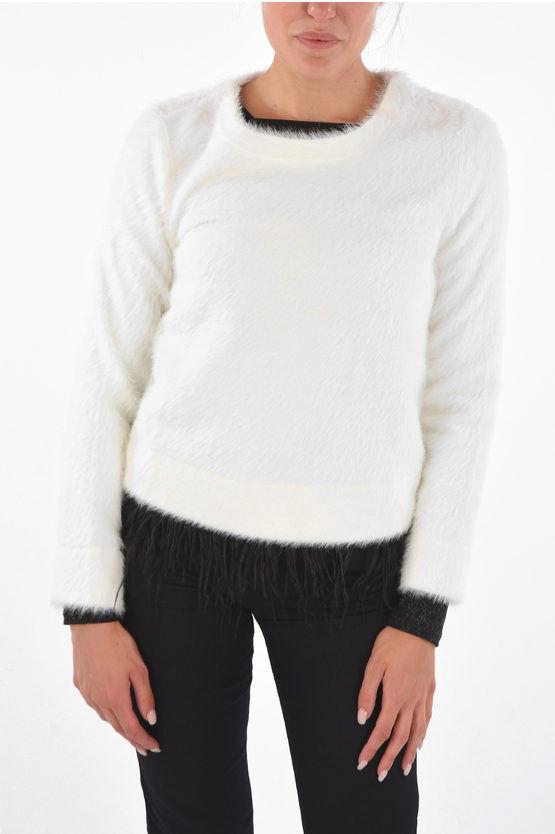 armani exchange maglia girocollo con piume di struzzo removi taglia xl