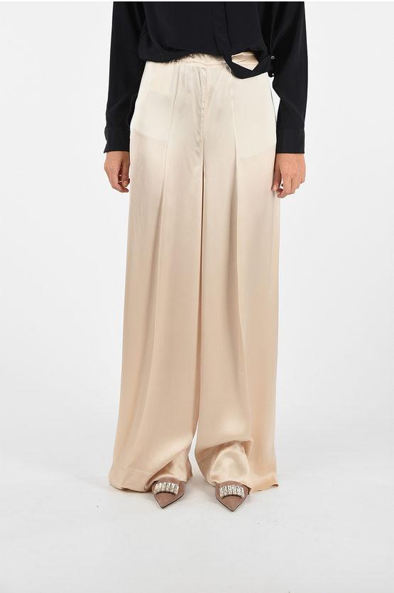 jil sander pantalone palazzo lando con chiusura zip laterale taglia 42