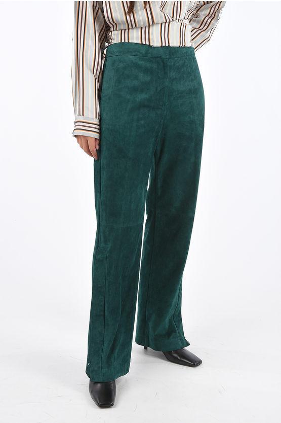 jil sander pantaloni palazzo in suede lapo con spacco laterale taglia 40