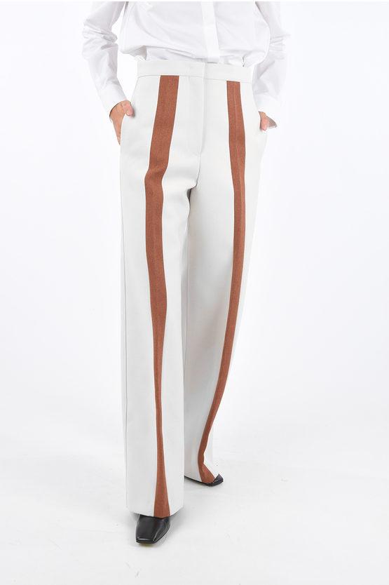 jil sander pantaloni palazzo largo con bande laterali a contrasto taglia 38
