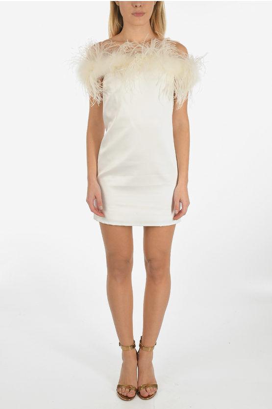 saint laurent vestito mini in raso con piume di struzzo taglia 42