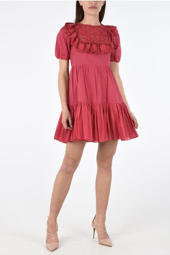 Valentino Mini Dress a Balze con Ricamo Floreale taglia 38