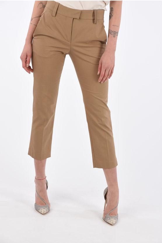 Brunello Cucinelli Pantaloni Crop a Vita Alta con Dettaglio Gioiello taglia 40