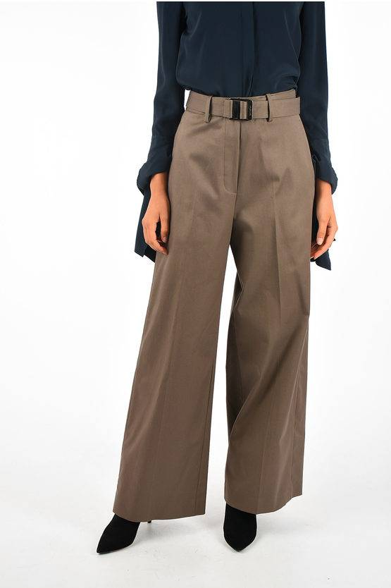 Neil Barrett Pantaloni a Wide Leg in Cotone Stretch taglia 42